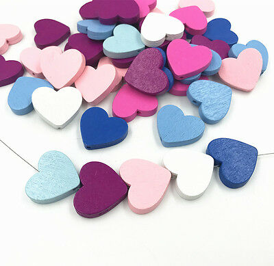 Wooden Heart Shape Beads Spacer Beading Wood Beads DIY Accessories Kids Toys