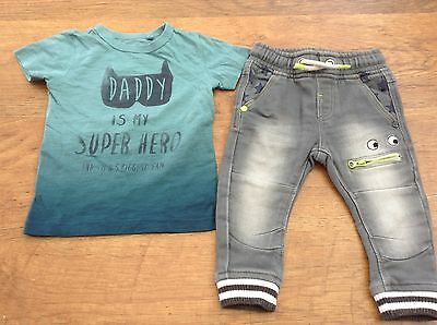 100% Next  Boys Small Summer Bundle / Outfit Age 9-12Mths Soft Jeans Top