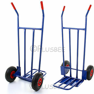 Hand Sack Truck Trolley Industrial Heavy Duty Pneumatic Tyres Folding Large Blue