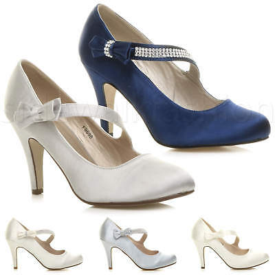 Womens ladies high heel diamante mary jane bow wedding court shoes pumps size
