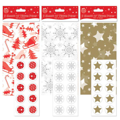 5 x Sheets Christmas Tissue Paper & Stickers Gift Wrap 3 Designs Red Gold Silver