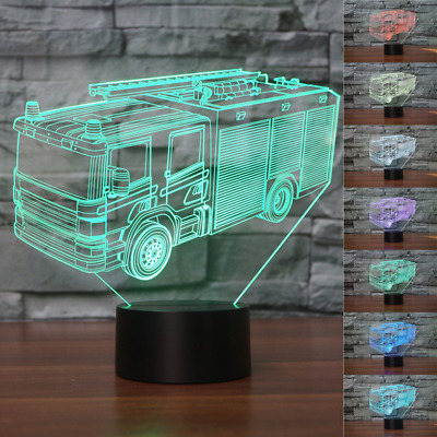 3D fire fighting truck Night Light 7 Color Change LED Table Lamp Decor Toy Gift
