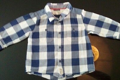 lovely little boys blue and white checked shirt 4-6 months