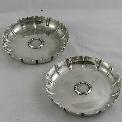 Superb Pair Victorian Solid Silver Strawberry Dishes Fb Thomas Georgian Shilling