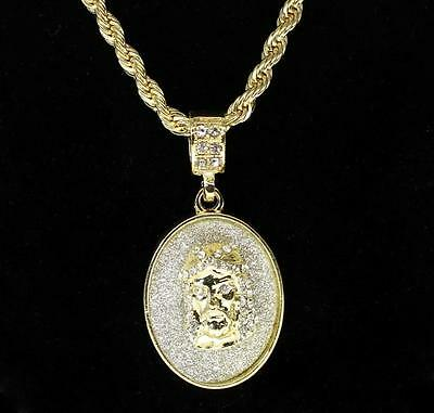 """Iced Out Jesus Piece 14k Gold Plated Bling 4mm Rope Chain 1.25""""  Pendant Hip Hop"""