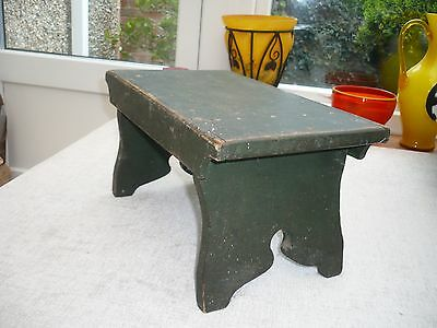 Antique wooden stool with pretty carved ends Ideal rustic country kitchen green