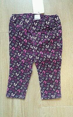 BNWT H&M Baby Girls Purple Bow Print Trousers Size 3-6 months