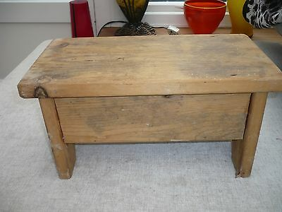 Antique wooden stool with pretty carved ends Ideal rustic country kitchen pine
