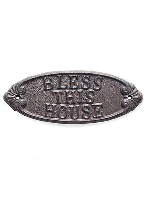 "9"" Brown Metal Cast Iron ""Bless This House"" Wall Sign Plaque"