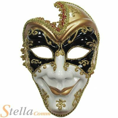 Adult Full Face Man Jester Mask Ventian Masquerade Halloween Fancy Dress Costume