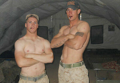 Shirtless Male Army Boys Military Hunks Smoking Tattoos PHOTO 4X6 Pinup P1868***