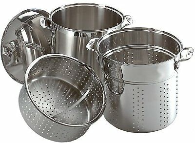 NEW All-Clad Stainless Steel 12-Qt Multi Cooker Cookware Set - 3-Pc - Silver