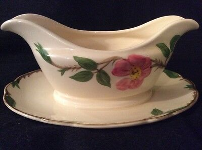 Franciscan DESERT ROSE Gravy Boat w/ Attached Underplate 1961 TV USA Mark