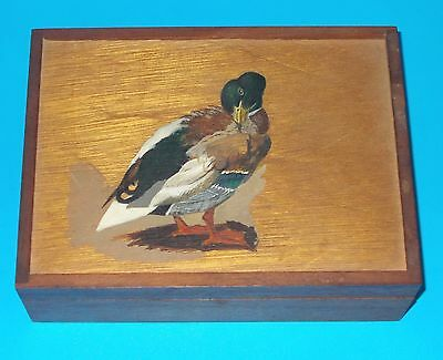 SOLID WOODEN BOX with HAND-PAINTED MALLARD ON LID and BRASS HINGES