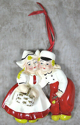 Vintage Chalkware Dutch Couple Boy & Girl One Piece Wall Hanging