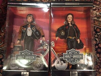 2 MATTEL HARLEY-DAVIDSON BARBIE Blonde And RED HEAD COLLECTOR 1999 2000