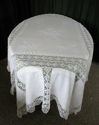 "ANTIQUE TABLECLOTH HAND EMBROIDERY & BOBBIN LACE - 64"" x 76"""