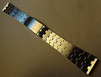 New NOS Old Stock Jigsaw Stainless Steel Bracelet 19mm Trifold Clasp Watch Band