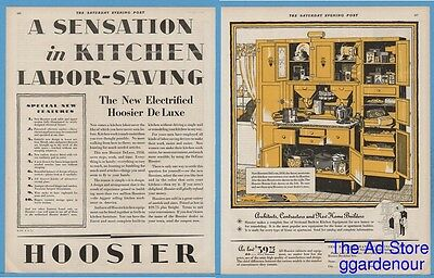 1929 Hoosier Mfg New Castle IN Electrified Deluxe Kitchen Cabinet Decor Ad