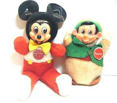 Vintage Gund Disney Roly Poly Pinocchio & Laughing Mickey Mouse