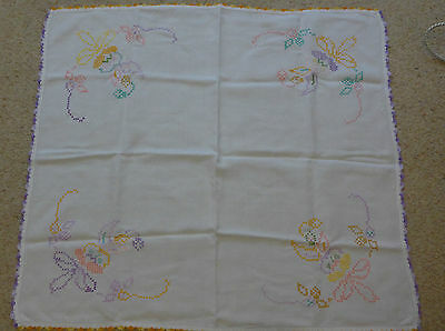 Vintage Linen Hand Embroidered Cross Stitch Tablecloth Edged with Crochet
