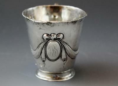 Antique Sterling Silver Miniature Tea Cup w/ Swag & Bow No Reserve