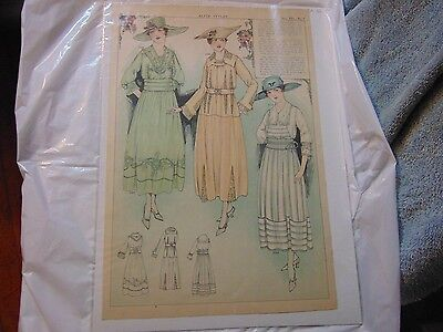 Vintage Graphic Advertising Art - 1917- Elite Styles -Women's Fashion Ad Page-A