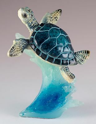 Blue Sea Turtle On Wave Figurine 4.5 Inch High Resin New In Box!