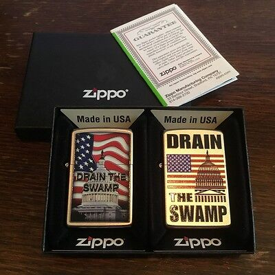 Zippo DRAIN THE SWAMP Donald Trump LIMITED EDITION 2 Lighter Set, only 100 made!