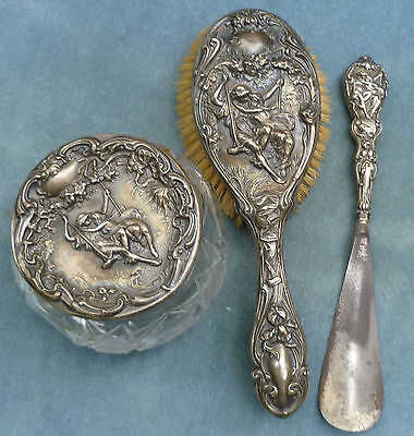 F&B Foster Bailey Sterling Dresser Jar Brush Shoe Horn Art Nouveau Victorian Set