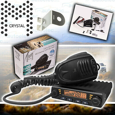 Crystal Db477E Uhf Cb Radio + Oricom Bonnet Boot Mudguard Mount Antenna Bracket