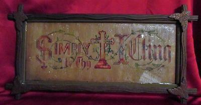 Antique Victorian Punch Paper Sampler Cross of Jesus Adirondack Folk Art Frame
