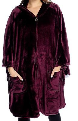Cozelle One Size Plush Hooded Front Zip Wrap Berry Red New