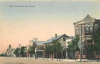 C-1910 Scott City Kansas Main Street hand colored Nicholson postcard 11043