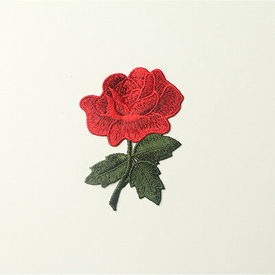 5Pcs Rose Flower Badge Applique Patch Fabric Clothes Craft Embroidered Sewing