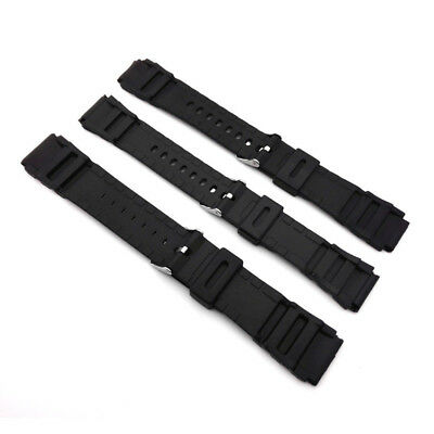 Black Plastic Wrist Watch Band Strap Belt Replacement Alloy Buckle 18/20/22mm