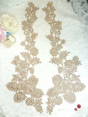 """DH79 Lace Appliques Gold Floral Embroidered Mirror Pair Costume Motifs 12.5/"""""""