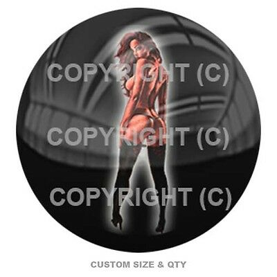 Premium Glossy Round 3D Epoxy Domed Decal Indoor & Outdoor - Tattoo Girl Left