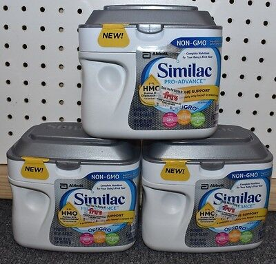 3 Tubs Similac Pro-Advance Non-GMO Infant Baby formula powder 1.45lb 4/2019 AFJA