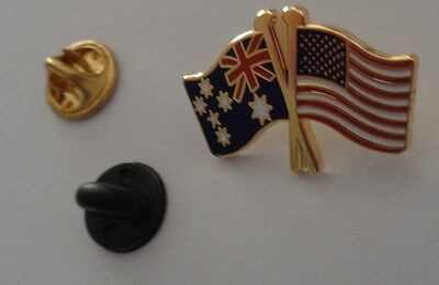 Australia & USA Friendship Flag Pin Badge Australian United States Of America