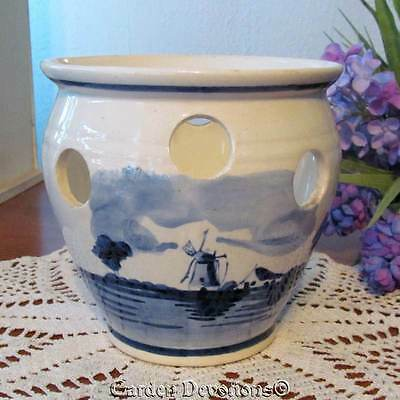"Pottery 5"" DUTCH WINDWILL / SAILBOAT CROCUS BOWL ~ Delfts Flower Pot *HOLLAND*"