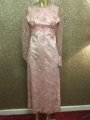 Stunning True Vintage 1950's Pink Beaded Cocktail Dress - Size 10/12