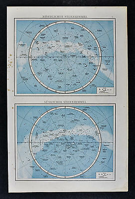 1887 Andrees Map - Star Charts North & South  Polaris Orion Galaxy Sky Watching