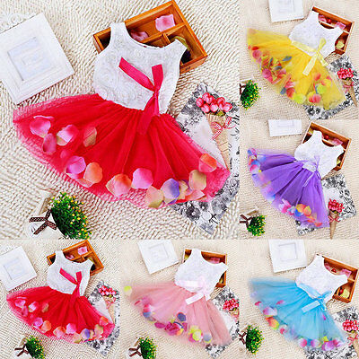 Baby Kids Girl Princess Pageant Party Tutu Dress Lace Bow Flower Tulle Skirt