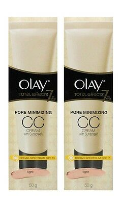 2 X OLAY 50g TOTAL EFFECTS 7 IN 1 PORE MINIMIZING CC CREAM SPF15 LIGHT -NEW!