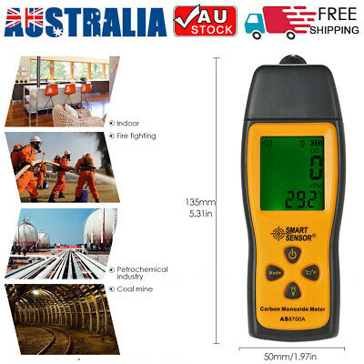 Carbon Monoxide Meter with CO Gas Tester Monitor Detector Gauge 1000ppm