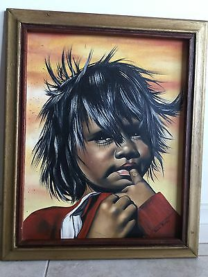 Vintage Aboriginal Girl Oil? Painting Picture Leonora Gold Fields W.A Signed