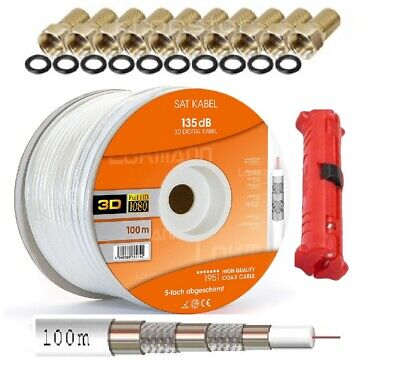 135dB 100m SAT Digital Koax Kabel 5fach geschirmt GOLD EDITION Prem.+Abisolierer