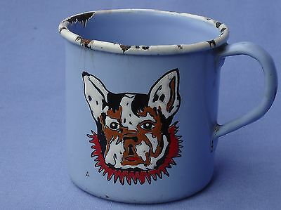 Antique French Bulldog Enamel Cup Germany