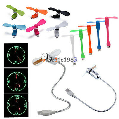 Portable Micro/Mini/Lightning USB LED/Clock Cooling Fan For iPhone Andriod PC